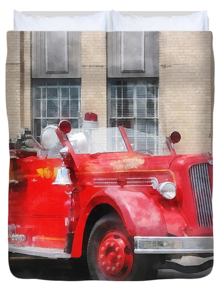 Fire Fighters - Vintage Fire Truck Duvet Cover by Susan Savad