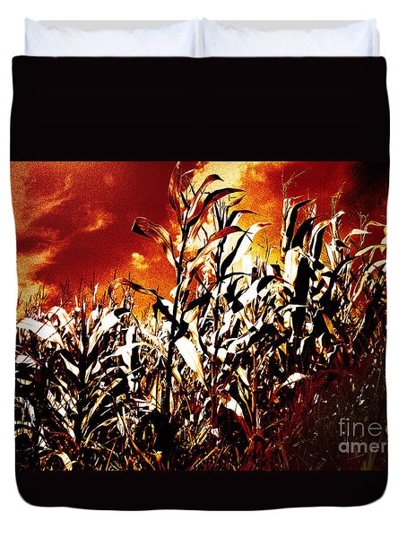 Fire In The Corn Field Duvet Cover by Gaspar Avila