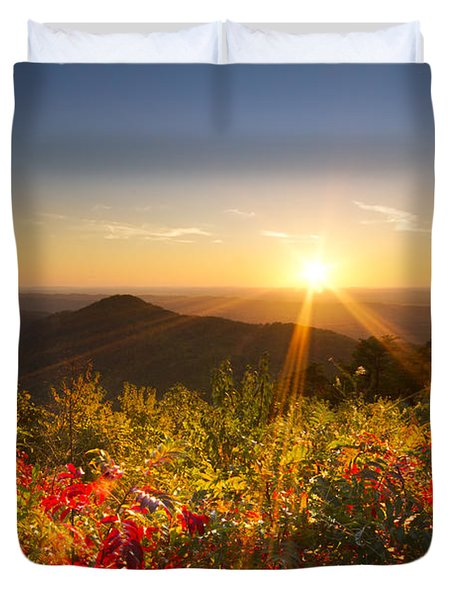 Fire on the Mountain Duvet Cover by Debra and Dave Vanderlaan