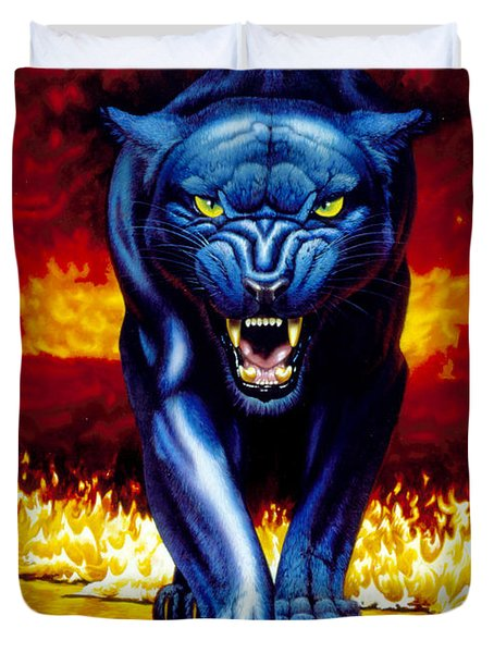 Fire Panther Duvet Cover by MGL Studio - Chris Hiett