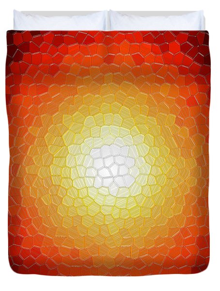 Fireball Sunburst A Tiffany Look Stain Glass Duvet Cover by Andee Design