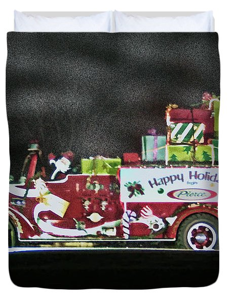 Firefighters Christmas Duvet Cover by Tommy Anderson