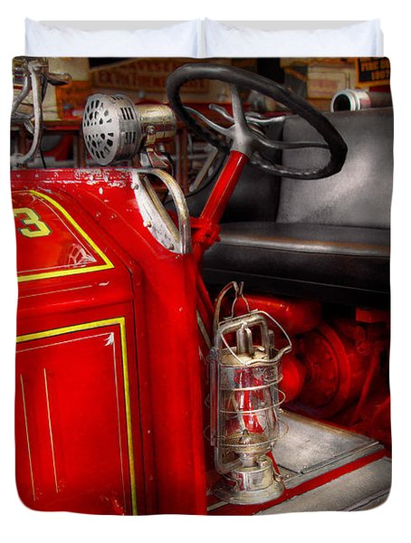 Fireman - Fire Engine No 3 Duvet Cover by Mike Savad