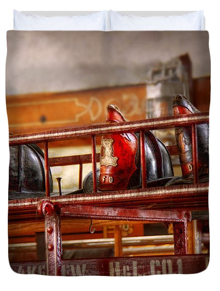 Fireman - Ladder Company 1 Duvet Cover by Mike Savad