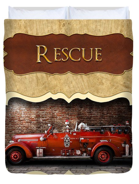 Fireman - Rescue - Police Duvet Cover by Mike Savad