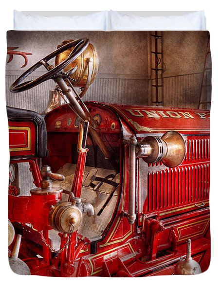 Fireman - Truck - Waiting for a call Duvet Cover by Mike Savad