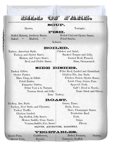 Firemen Dinner Menu - San Francisco - 1856 Duvet Cover by Daniel Hagerman