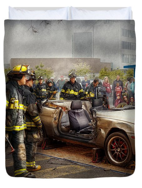 Firemen - The fire demonstration Duvet Cover by Mike Savad