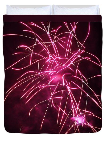Rockets Red Glare Fireworks Duvet Cover by Howard Tenke
