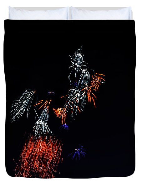 Fireworks Abstract Duvet Cover by Robert Bales