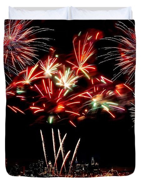 Fireworks Over The Delaware Duvet Cover by Nick Zelinsky
