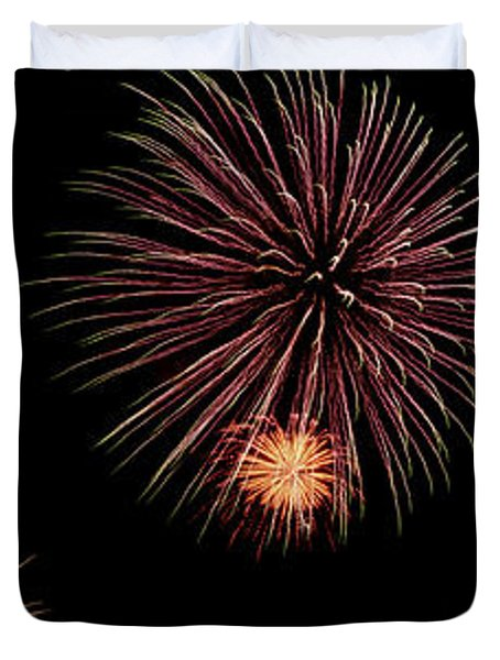 Fireworks Panorama Duvet Cover by Bill Cannon
