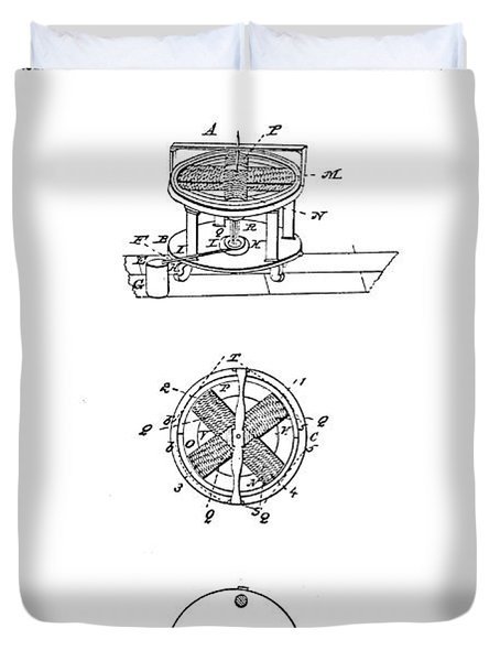 FIRST ELECTRIC MOTOR PATENT ART 1837 Duvet Cover by Daniel Hagerman