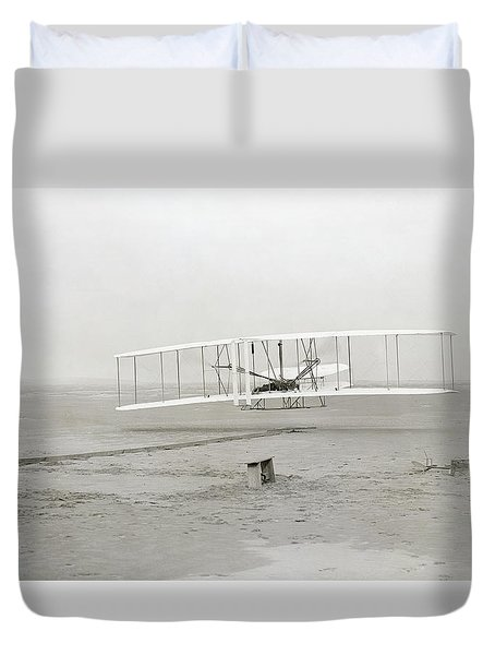 First Flight Captured On Glass Negative - 1903 Duvet Cover by Daniel Hagerman