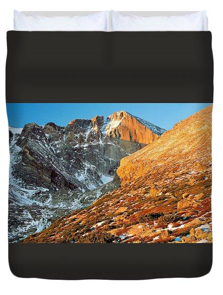 First Light At Longs Peak Duvet Cover by Eric Glaser