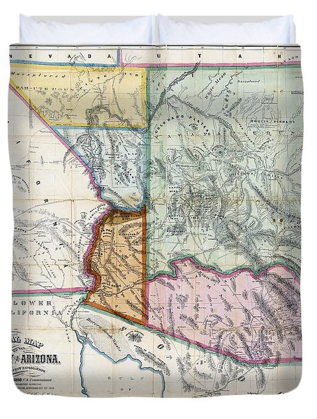 First Map Of Arizona Territory  1865 Duvet Cover by Daniel Hagerman