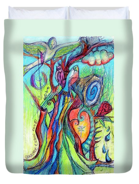 Fish Feather In Teapot Tree Guarded By Human Bird Duvet Cover by Genevieve Esson