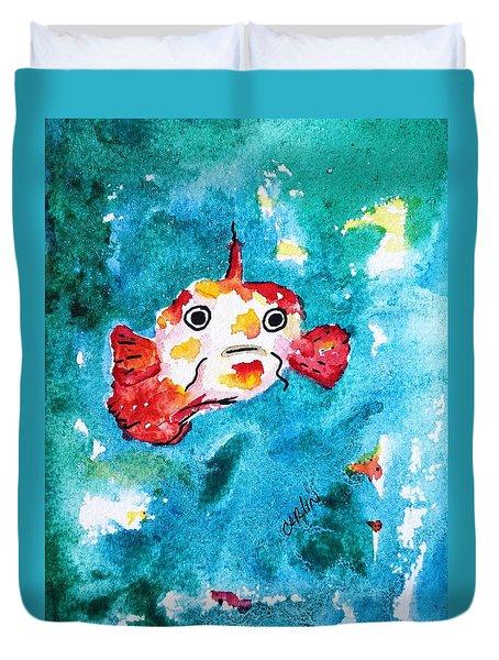Fish Traveler - Abstract Duvet Cover by Carlin Blahnik