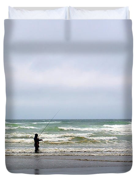 Fisherman Bracing The Weather Duvet Cover by Roger Reeves  and Terrie Heslop