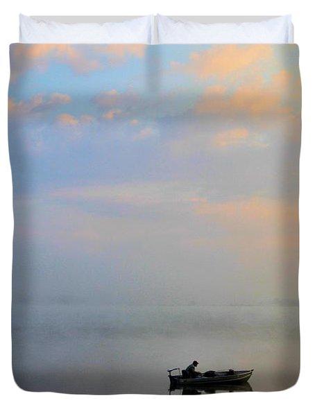 Fisherman's Solitude In Ohio Duvet Cover by Dan Sproul