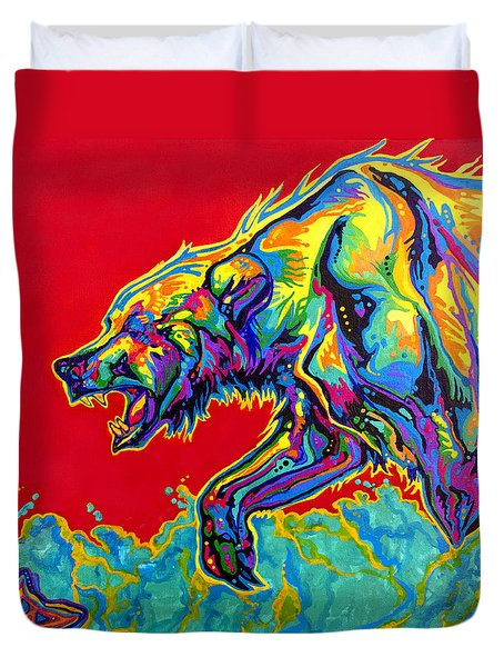 Fishing Bear Duvet Cover by Derrick Higgins