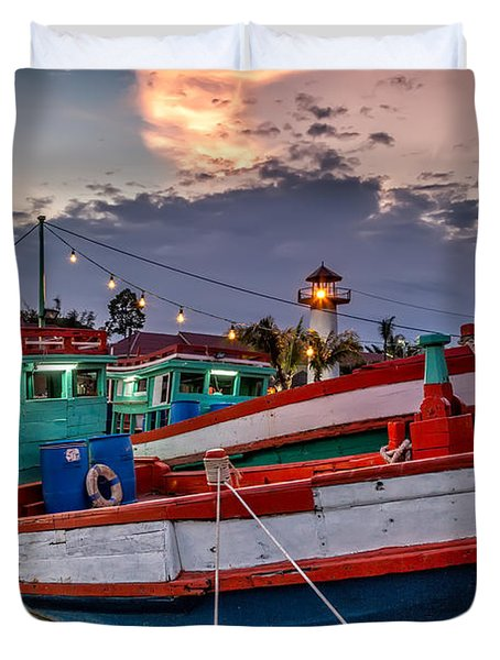 Fishing Boat Duvet Cover by Adrian Evans