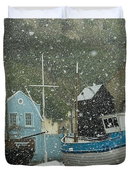 Fishing Boats Covered With Snow In Old Duvet Cover by Chris Parker