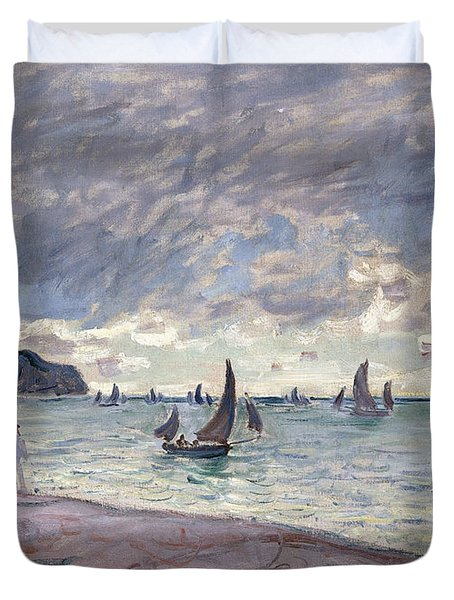 Fishing Boats In Front Of The Beach And Cliffs Of Pourville Duvet Cover by Claude Monet