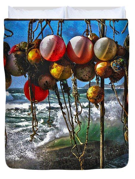 Fishing Buoys Duvet Cover by Terri Waters