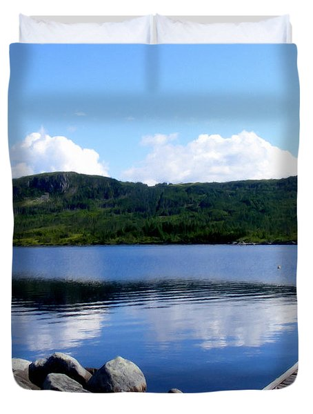 Fishing Day - Calm Waters - Digital Painting Duvet Cover by Barbara Griffin