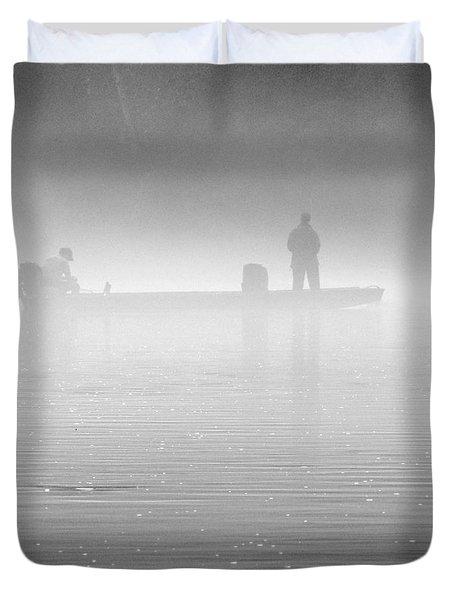 Fishing In The Fog Duvet Cover by Mike McGlothlen