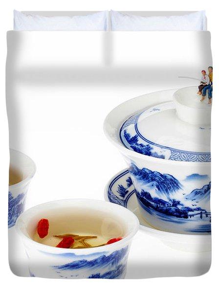 Fishing On Tea Cups Little People On Food Series Duvet Cover by Paul Ge