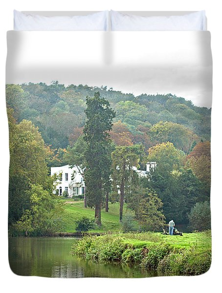 Fishing On The River Thames Duvet Cover by Gill Billington