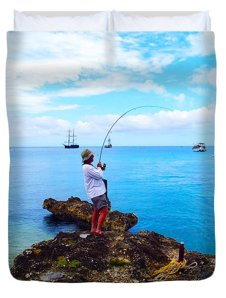 Fishing Paradise Duvet Cover by Carey Chen