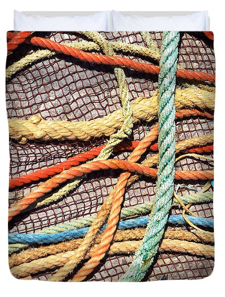 Fishing Ropes and Net Duvet Cover by Carlos Caetano