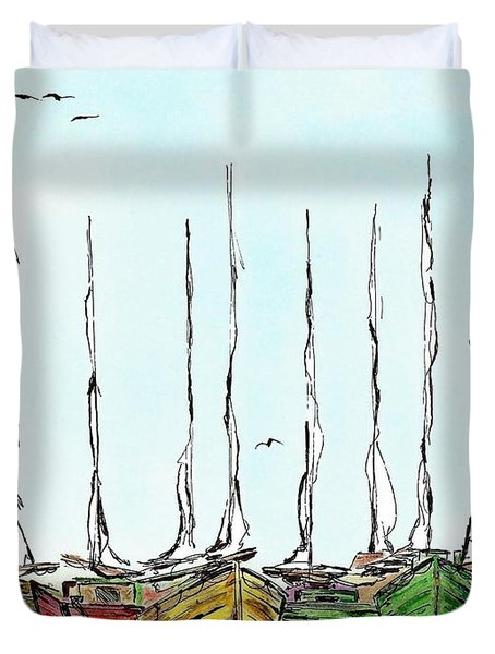 Fishing Sailboats Drawing Pen And Ink Duvet Cover by Mario  Perez