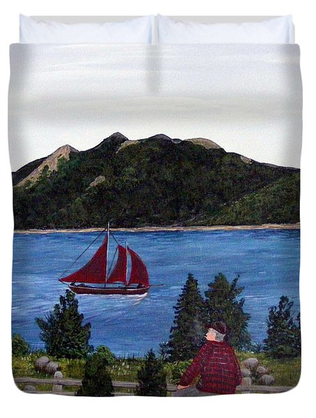 Fishing Schooner Duvet Cover by Barbara Griffin