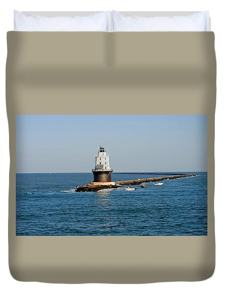 Fishing The Breakwater Duvet Cover by Skip Willits