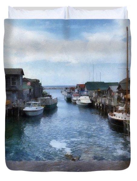 Fishtown Leland Michigan Duvet Cover by Michelle Calkins