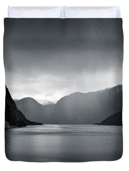 Fjord Rain Duvet Cover by Dave Bowman