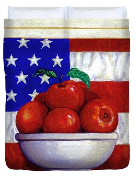 Flag and Apples Duvet Cover by Linda Mears