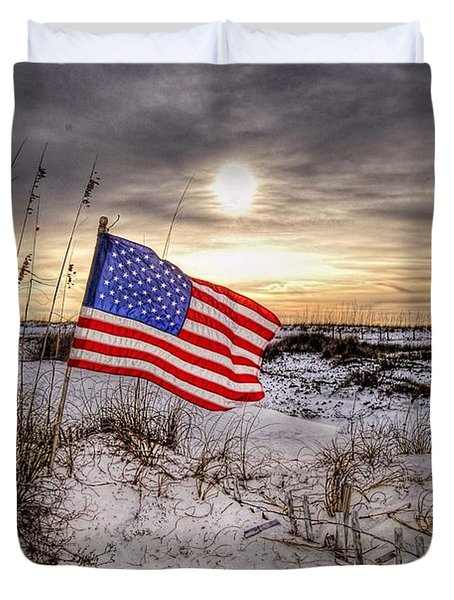Flag On The Beach Duvet Cover by Michael Thomas