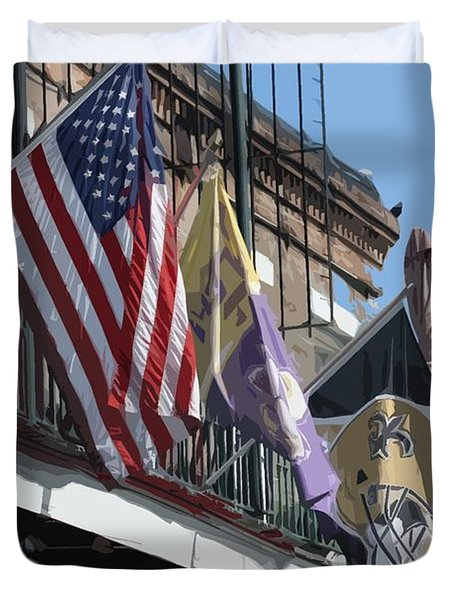 Flags On Bourbon Street Duvet Cover by Donna G Smith