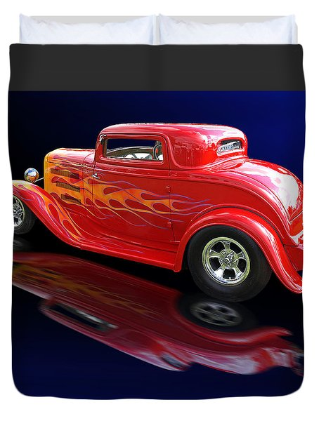 Flaming Roadster Duvet Cover by Gill Billington