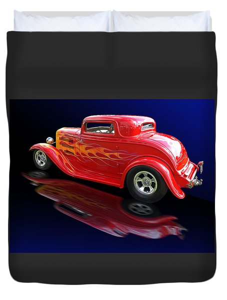 Flaming Roadster Duvet Cover by Gill Billington