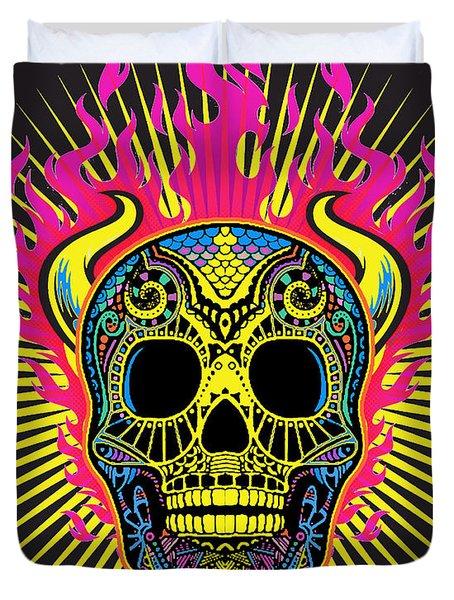 Flaming Skull Duvet Cover by Tony Rubino