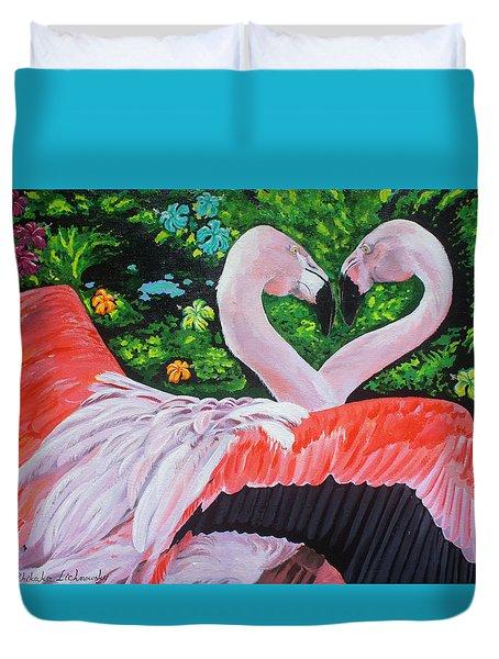 Flamingo Paradise Duvet Cover by Chikako Hashimoto Lichnowsky