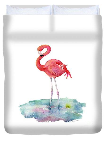 Flamingo Pose Duvet Cover by Amy Kirkpatrick