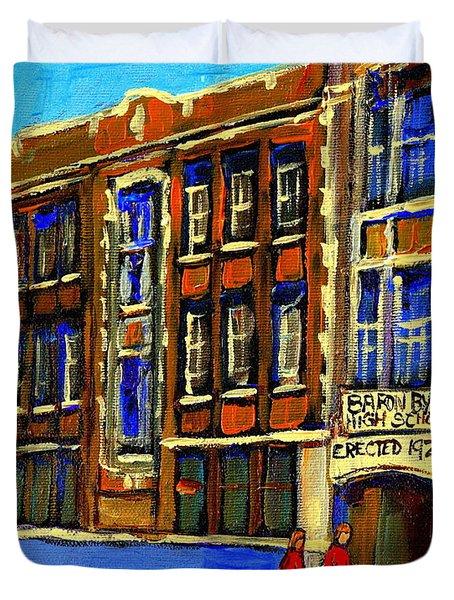 Flashback To Sixties Montreal Memories Baron Byng High School Vintage Landmark St. Urbain City Scene Duvet Cover by Carole Spandau