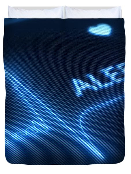 Flat line alert on heart monitor Duvet Cover by Johan Swanepoel